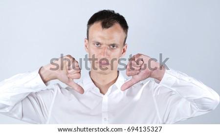érett nő mutat hüvelykujjak lefelé felirat mindkettő Stock fotó © bmonteny