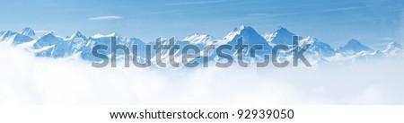 Top Of Mountain In Snow Stok fotoğraf © vichie81