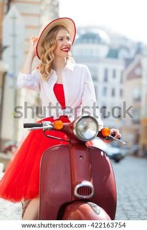 Beautiful young girl in dress over urban background Stock photo © Aikon