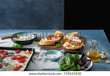 Bruschetta ingredientes foto italiano detrás Foto stock © sumners