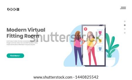 Virtual fitting room concept landing page. Stock photo © RAStudio