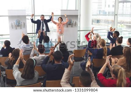 背面図 小さな ビジネス 同僚 拍手 ストックフォト © wavebreak_media