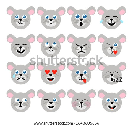 Happy mouse emoji flat illustration Stock photo © barsrsind