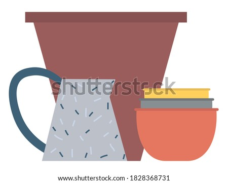 Handicraft Plate and Bowl, Rustic Dishware Vector Stock photo © robuart