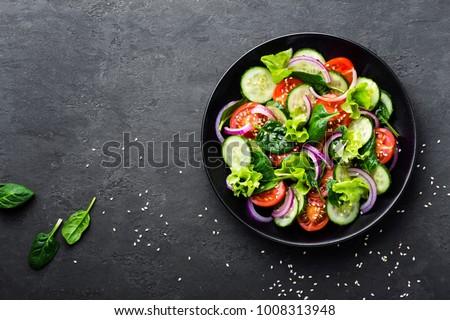 Taze vejetaryen sebze salata domates salatalık Stok fotoğraf © DenisMArt