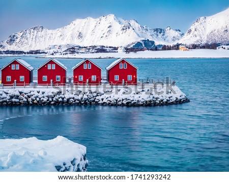 ノルウェーの 冬 島々 ノルウェー 空 日没 ストックフォト © dmitry_rukhlenko
