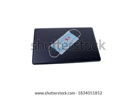 Shopping trolley with medicines for online purchase with keyboard and stethoscope on light backgroun Stock photo © DenisMArt