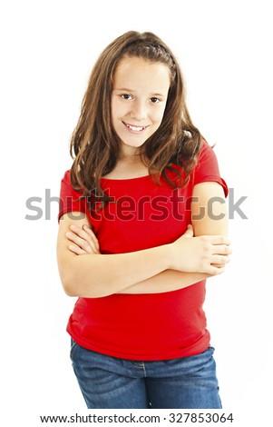 Jonge moderne christmas meisje geïsoleerd witte Stockfoto © fotorobs
