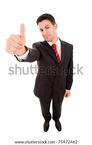 primer · plano · jóvenes · sonriendo · hombre · de · negocios · pie · grande - foto stock © HASLOO