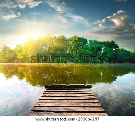 Forest Mere Sunrise Stock photo © suerob