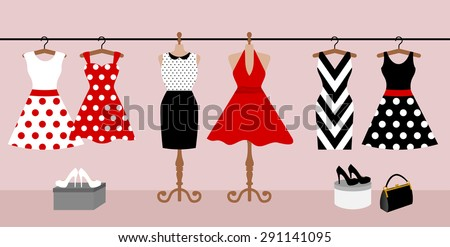 women in red dress with little shopping bags stock photo © massonforstock