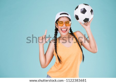 Happy Sporty Woman Holding Ball Stock photo © AndreyPopov