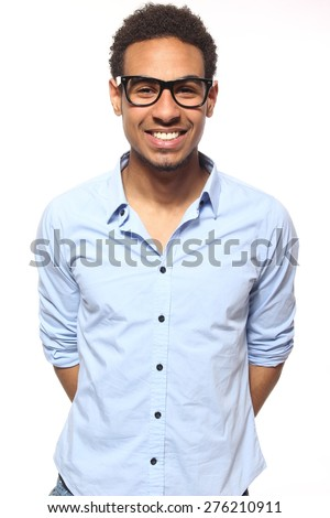 Young man in brown shirt isolated on white Stock photo © Elnur