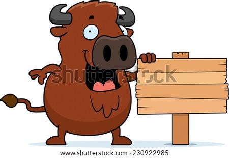 Desenho animado madeira assinar ilustração em pé Foto stock © cthoman