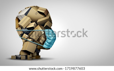 Delivery during the quarantine. Box with Merchandise, goods and food at door of home Stock photo © Illia