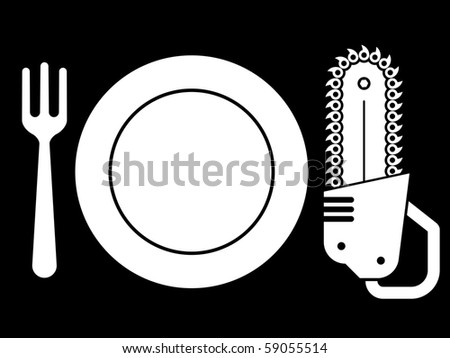 Dish with plate, fork and chainsaw  Stock photo © adrian_n