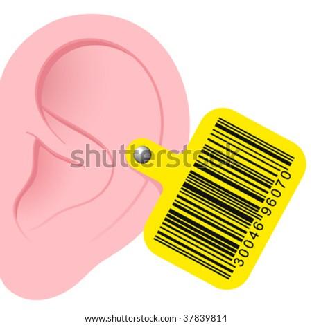 Uman ureche cod de bare informaţii roz galben Imagine de stoc © adrian_n