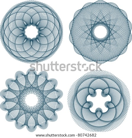 Stock photo: Set of four guilloche rosette