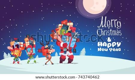 Mikulás hordoz boglya ajándékok vidám karácsony Stock fotó © davidgn