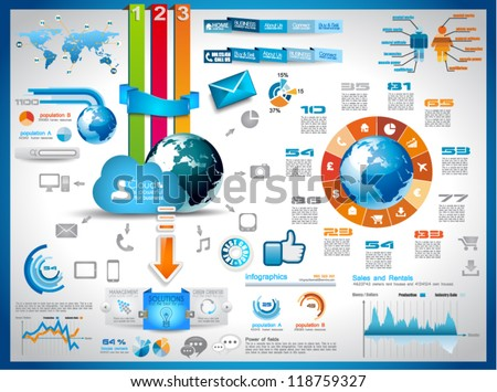 Stock photo: Infographic elements - set of paper tags, technology icons...
