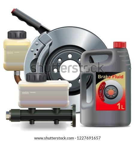 Vector Brake Fluid with Disk Brake Stock photo © dashadima