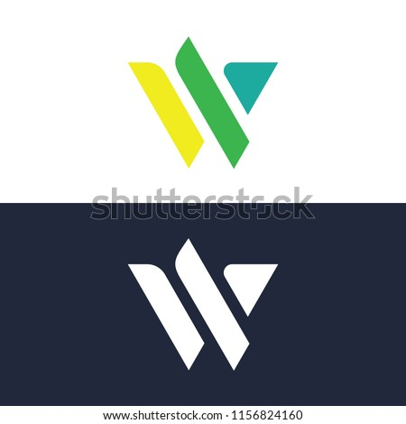 Abstract blue logo W Stock photo © netkov1