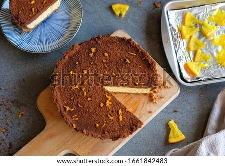 Chocolade oranje kwarktaart home Rood vuurwerk Stockfoto © Dar1930