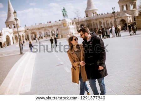 loving couple by the fishermans bastion in budapest hungary stock photo © boggy