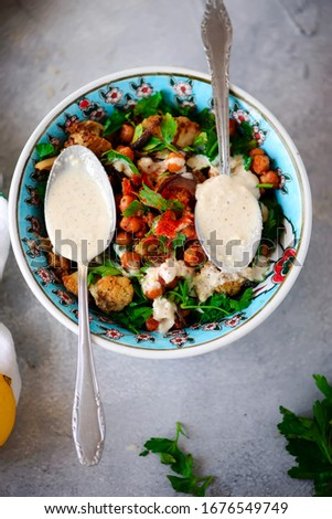 Vegetarian salad with chickpeas.life style .selective focus Stock photo © zoryanchik