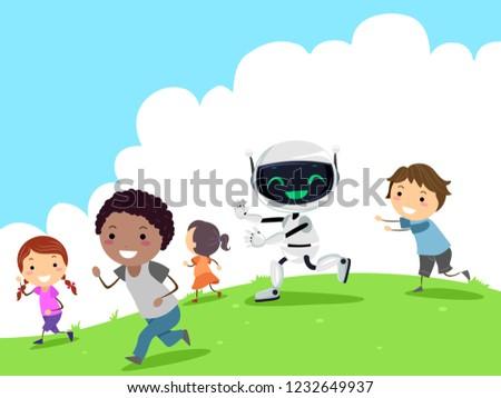 Robot Play Stickman Kids Outdoors Illustration Stock photo © lenm