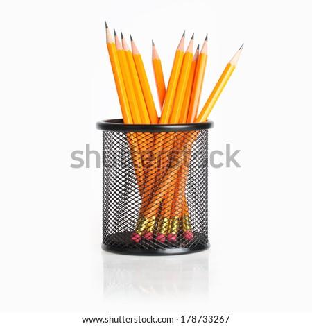 Pencils in holder. Stock photo © iofoto