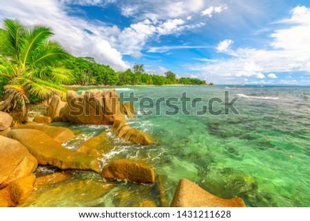 boulders on the shoreline Stock photo © morrbyte