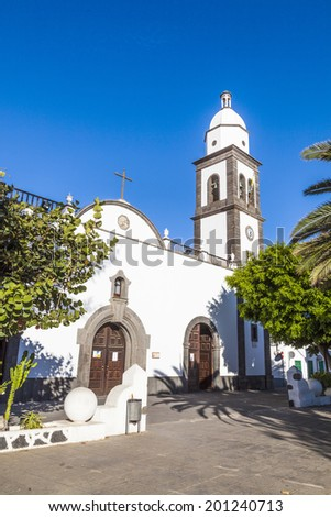 the beautiful church of san gines in arrecife with its white was stock photo © meinzahn