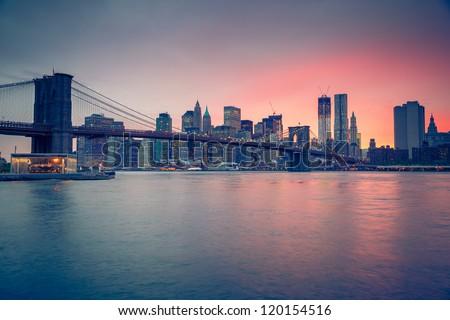 brooklyn bridge at dusk new york city stock photo © kasto