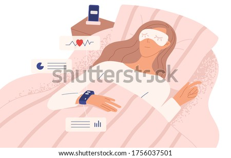Female on bed in bedroom with watch Stock photo © zurijeta