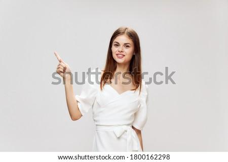 Pretty woman in white dress Stock photo © acidgrey