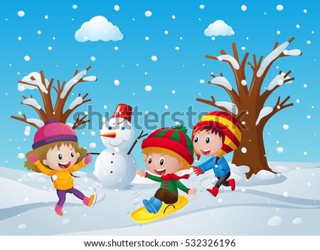 Três crianças brincando boneco de neve neve campo ilustração Foto stock © colematt