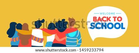 Terug naar school student vriend groep kaart Stockfoto © cienpies