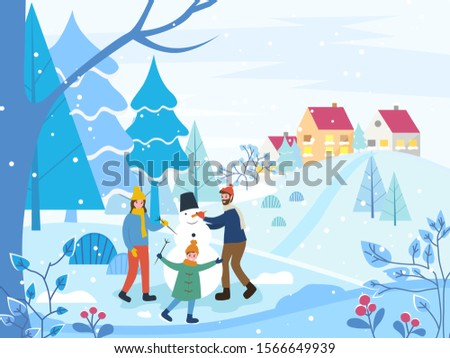 Winter Scenery Dad and Children Sculpting Snowman Stock photo © robuart