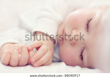 Közelkép újszülött baba alszik sapka növekedés Stock fotó © bmonteny