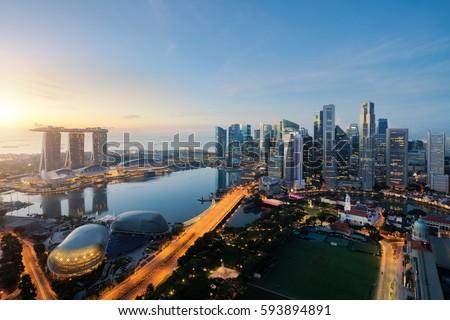 Cingapura · backlight · silhueta · centro · da · cidade · núcleo - foto stock © compuinfoto