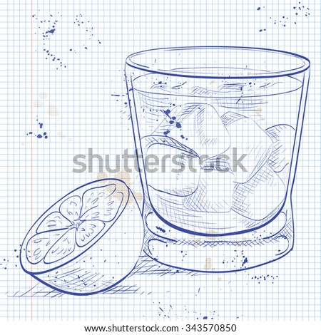 Alcoholic Cocktail Godmother on a notebook page Stock photo © netkov1