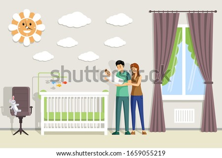 father and mother hold son on hands in playroom Stock photo © Paha_L