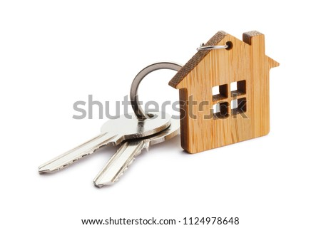 bunch of two metal house keys on a tag stock photo © adrian_n