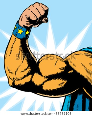 Cartoon Superhero Flexing Stock photo © cthoman