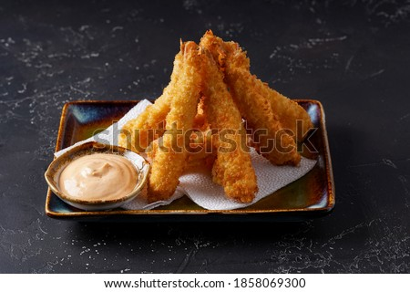 Shrimp tempura with sauce on the plate Stock photo © Alex9500