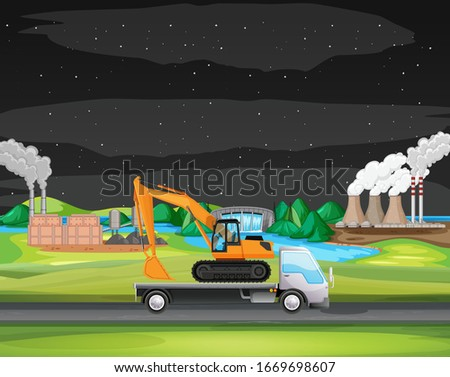 Scene with truck driving along the industrial zone Stock photo © bluering