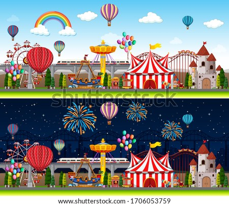 Themepark scene with many rides at day time Stock photo © bluering