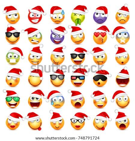 smiley with santa hat stock photo © vectomart