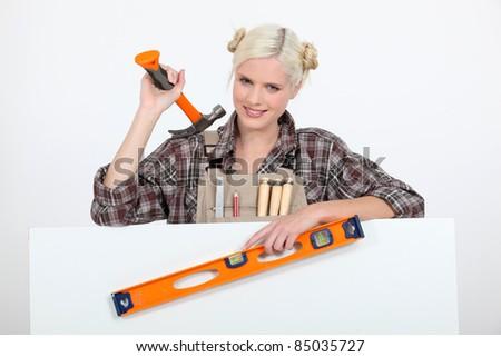 женщины · плотник · совета · сообщение · женщину · дома - Сток-фото © photography33